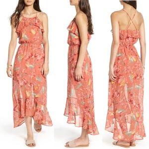 As You Wish Print Ruffle High/Low Maxi Dress M
